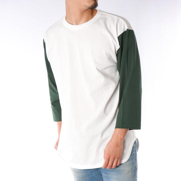 【2019春夏新作】 ベースボールTシャツ メンズ 7分袖 クルーネック ラグランスリーブ 無地 ユニセックス