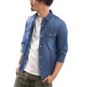 【2020春夏新作】 デニムシャツ メンズ 7分袖 紺 青 ブリーチ 春 夏 ウエスタンシャツ ワークシャツ