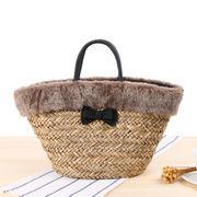新しいデザイン 絨毛 クロシェ エッジ 森 省 砂 女性バッグ 手 編み パッケージ ホ