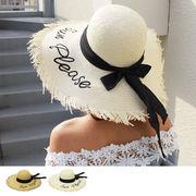 刺繍ロゴ入りリボン付きペーパーハット 帽子 HAT ツバ広ハット 麦わら帽子 ストローハット