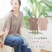 ☆500円以下商品☆【大きいサイズ有】スリットカラーふんわりシャツチュニック
