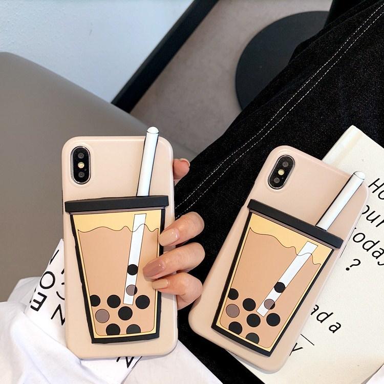 iPhoneケース iPhoneXR ミルクティー iPhone case シリコンケース