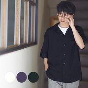 【2019春夏新作】 メンズ 無地 レーヨン 半袖 開襟シャツ オープンカラーシャツ