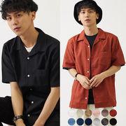 【2019春夏新作】メンズ 12色 展開 ポリトロ オープンカラー 半袖 シャツ