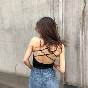 春夏 新しいデザイン 韓国風 学生 何でも似合う 美しい 背 キャミソール クロス 帯