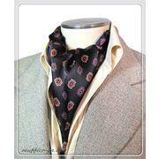 エレガントな袋縫いプリント柄入りメンズ用100%シルクスカーフ 10140