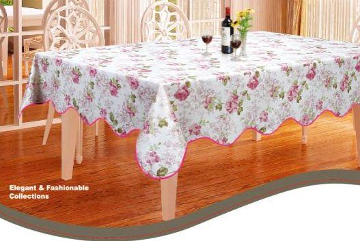 ローズ柄防水防油加工テーブルクロスピンク137×182cm