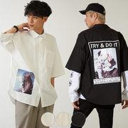 【2019春夏新作】メンズ レディー フォト プリント タイプライター 半袖 BIG シャツ