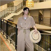【春夏新作】ファッション/人気ツナギ♪ブラック/カーキ2色展開◆