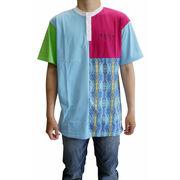 【即納】★カラーブロックヘンリーTシャツ★3色 3色 パッチワーク 大きいサイズ ストリート