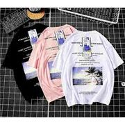 メンズ新作Tシャツ カットソー 半袖トップス カジュアル ホワイト/ブラック/ピンク3色