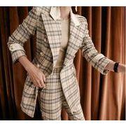 激安 韓国スタイル スーツ オフィス ビジネス リクルートスーツ 2点セット 美容師 チェック柄