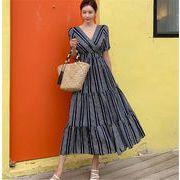 高品質  人気沸騰 韓国ファッション 可愛い ドレス ワンピース チュニック 新作 ストライプ   レディース