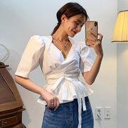 韓国ファッション可愛 気質 レディーズ 合わせやすい カジュアル 純色 Vネック 半袖 ブラウス 女 シャツ