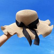 麦わら帽子 UVカット 日除け帽 リボン 可愛い ボリューム ファッション 超大つば 日焼け止め