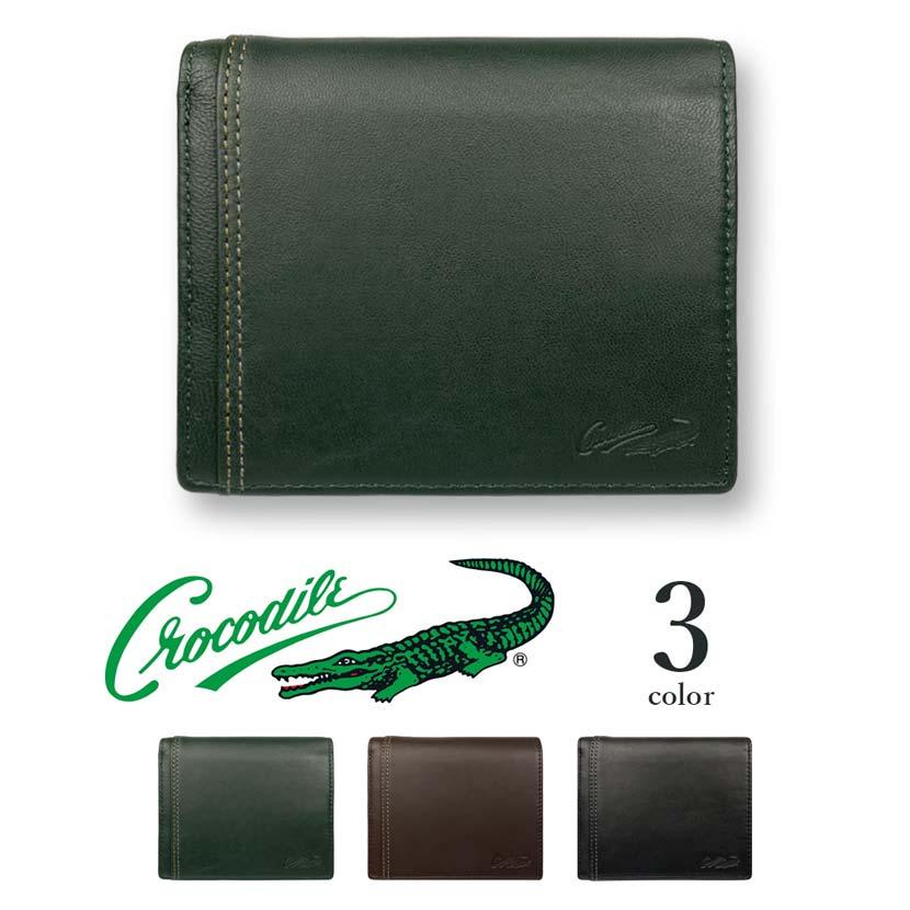 【全3色】 CROCODILE クロコダイル ウォレット 二つ折り 財布 中ベラ リアルレザー