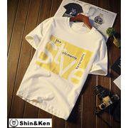 Tシャツ メンズ 半袖 プリント コットン Tシャツ トップス デザイン ブランド 夏物 綿 Tシャツ