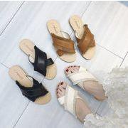 新作サンダル シューズ 靴 交差 クロス フリル カジュアル フラット 韓国 ファッション