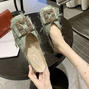 スクエアヘッド ピーズ靴 女 夏 新しいデザイン 韓国風 何でも似合う フラット 浅い口