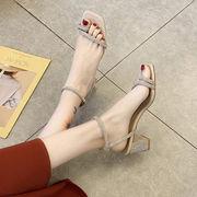 サンダル 女 フェアリー 風 夏 新しいデザイン 韓国風 太いヒール ハイヒール セット