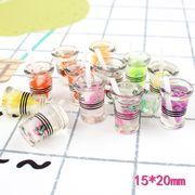 立体フルーツカップ シミュレーションゲーム DIY手作りキーホルダー素材 樹脂アクセサリー