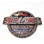 壁掛けオブジェ 3頭馬のウェルカム オブジェ 縦30×横39.5cm ■ Welcome プラーク