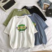 メンズ新作トップス カットソー 半袖Tシャツ ゆったり 全4色