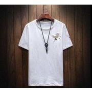 メンズ新作Tシャツ カットソー トップス カジュアル ブラック/ホワイト2色