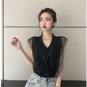 2019new 特価SALE ァッション レーヨン 縫付 ニットトップス Vネック ミニドット トップス