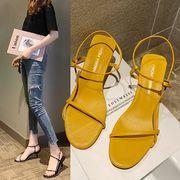 4色カジュアルシューズ ヒール ストラップ シンプル キレイめ サンダル 低反発インソール 靴サンダル