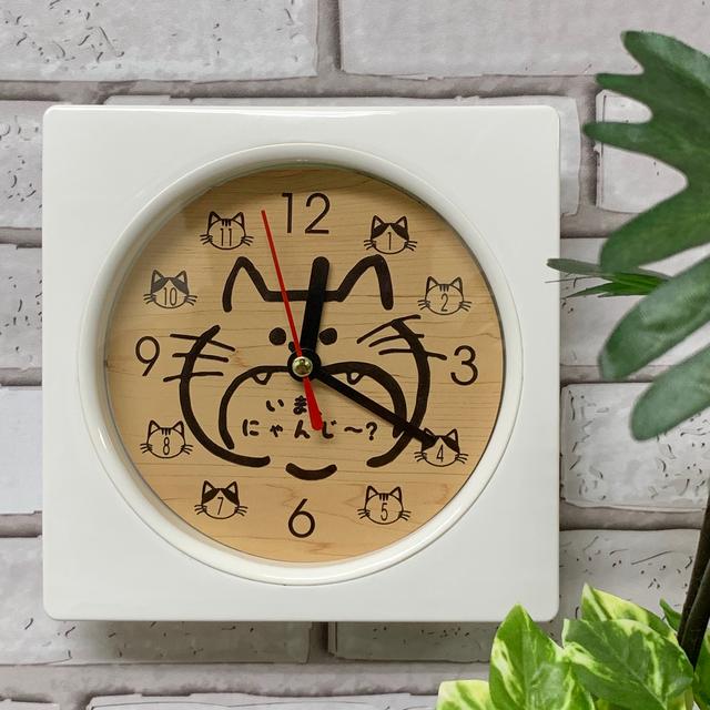 【名入れレーザー彫刻】木目調 Wall clock (猫) 時計 ホワイト 壁掛け時計