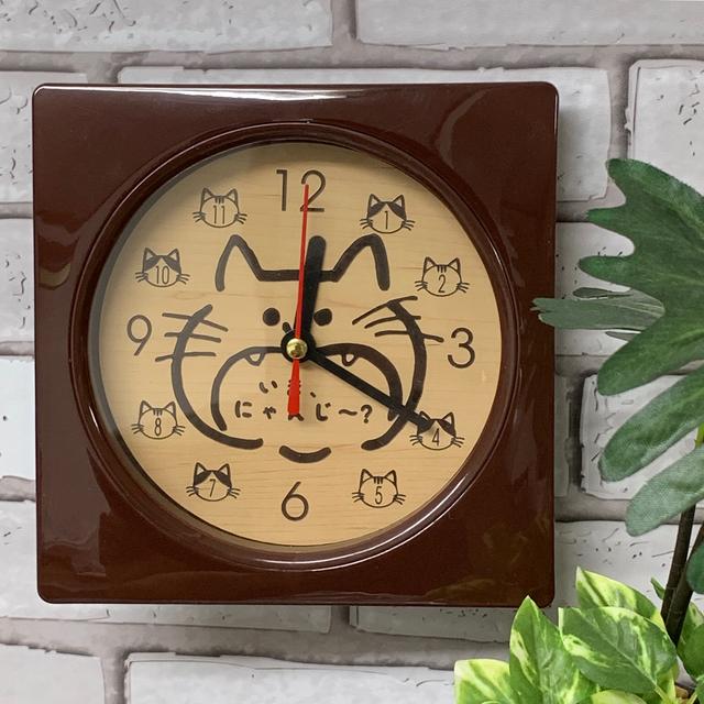 【名入れレーザー彫刻】木目調 Wall clock (猫) 時計 ブラウン 壁掛け時計
