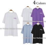 バックプリント ワイド 半袖 ロングTシャツ ビッグサイズ コットン カジュアル カットソー 夏