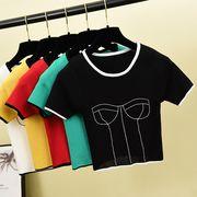 夏5色半袖ブラウス  シャツ セクシー ヒットカラー ラペル 半袖 ファッション レジャー
