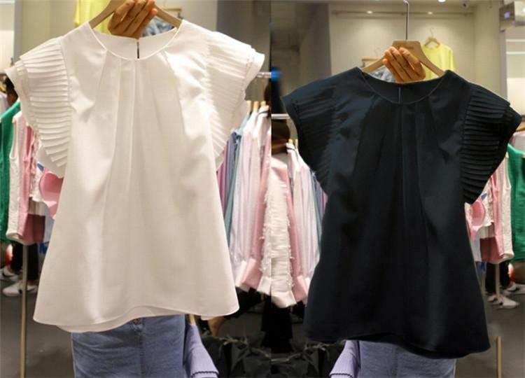 超人気インスタグラムで話題 全2色 半袖シャツ フリル 切り替え 体型カバー 着痩せ 無地 sweet系