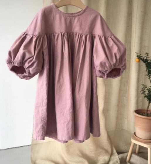 春 子供 ワンピース 女の子 シンプル ファッション  カジュアル 綿麻 長袖 2色
