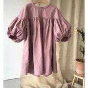 秋 子供 ワンピース 女の子 シンプル ファッション  カジュアル 綿麻 長袖 2色