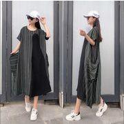 【大きいサイズL-XXL】ファッションワンピース♪ブラック/ダークグリーン2色展開◆
