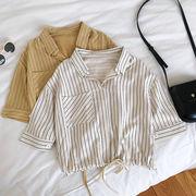 縦縞 ヘッジ シャツ 女 夏 新しいデザイン 韓国風 風 ルース 裾 包帯 五分袖 トッ