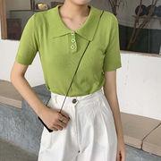 夏 新しいデザイン 韓国風 ルース 半袖 ニッティング シャツ 女子学生 ラペル ヘッジ