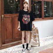 夏 新しいデザイン 韓国風 ルース 着やせ 半袖 プリント シャツ 中長スタイル レジャ