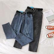 不規則な カット デニム 九分パンツ 女 新しいデザイン 韓国風 ファッション ハイウエ