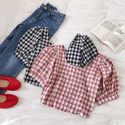 折り畳む グリッド パフ シャツ 女 夏 新しいデザイン 韓国風 アンティーク調 何でも