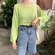 アーリー 秋 韓国風 新しいデザイン 単一色 長袖Tシャツ ルース 着やせ 薄いスタイル