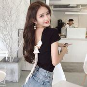 夏3色純綿★最強の新作★韓国ファッション可愛 背中リボン  半袖 Tシャツ 女 ブラウス