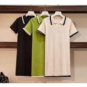 【大きいサイズL-4XL】ファッションワンピース♪ブラック/グリーン/アンズ3色展開◆