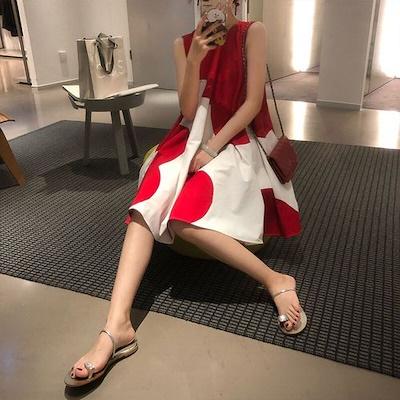 韓国ファッション ワンピース  シフォン スカート レディース  新作 人気 OL 個性 着痩せ 体型カバー