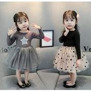 チュール ワンピース 可愛い 春 秋 女の子 キッズ 星 子供服 シンプル ファッション