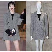 YUNOHAMI  コート アウター 韓国ファッション チェック柄 長袖 バックル  スーツ ジャケット マキシ丈