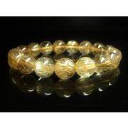 現品一点物 タイチンルチルブレスレット 虹入り金針水晶数珠 12-13ミリ TKR18 高級天然石